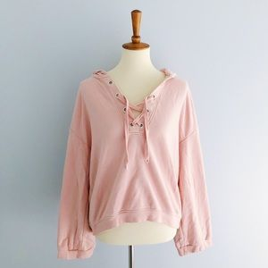 H&M Pink Lace Up Hooded Sweatshirt Size Small